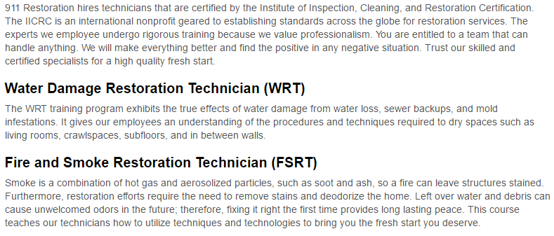 911 Restoration of West Palm Beach Certification Page