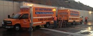 Water Damage Restoration Vans And Trucks Ready At Headquareters