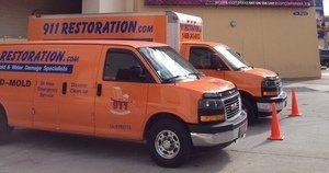 Water Damage Riviera Beach Vans At Commercial Job Location