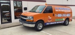 Water and Mold Damage Restoration Van Ready At Job Site